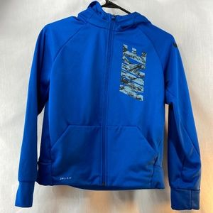 Blue Nike Dri-Fit Zip Up Hooded Jacket Youth Large